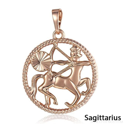 Zodiac Sign Rose Gold Round Pendant Necklace - Gp259 Sagittarius - Custom Made | Free Shipping