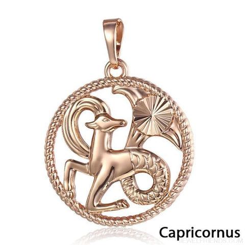 Zodiac Sign Rose Gold Round Pendant Necklace - Gp260 Capricornus - Custom Made | Free Shipping
