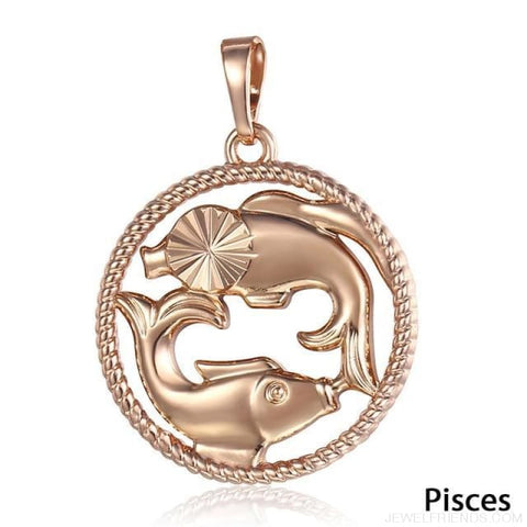 Zodiac Sign Rose Gold Round Pendant Necklace - Gp261 Pisces - Custom Made | Free Shipping