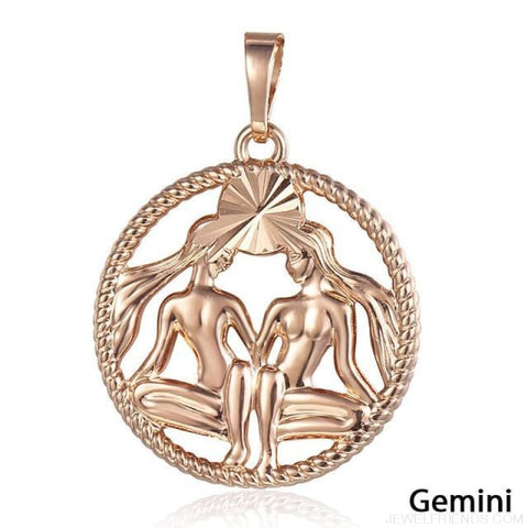 Zodiac Sign Rose Gold Round Pendant Necklace - Gp273 Gemini - Custom Made | Free Shipping