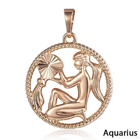 Zodiac Sign Rose Gold Round Pendant Necklace - Gp275 Aquarius - Custom Made | Free Shipping