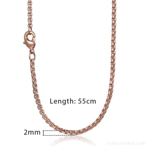 Zodiac Sign Rose Gold Round Pendant Necklace - Kn555 Chain 55Cm - Custom Made | Free Shipping