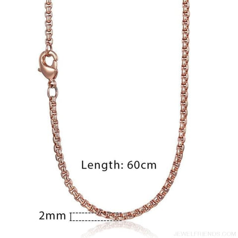 Zodiac Sign Rose Gold Round Pendant Necklace - Kn555 Chain 60Cm - Custom Made | Free Shipping