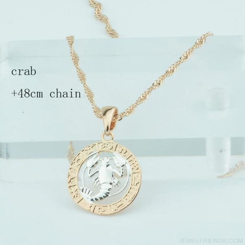 Zodiac Sign Rose White Circle Twisted Chain Necklaces - Crab Chain - Custom Made | Free Shipping