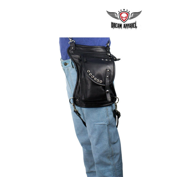 Black Naked Cowhide Leather Thigh Bag W/ CCW Pocket - Club Vest Biker Motorcycle Apparel & Accessories