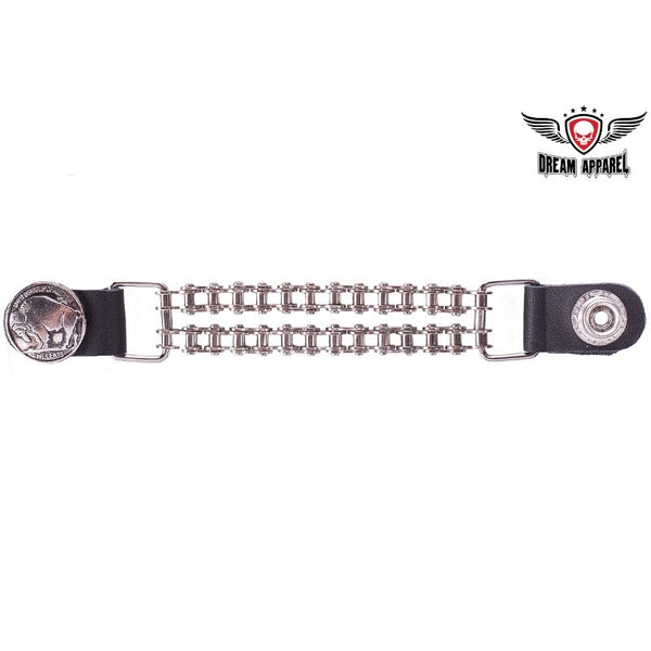 Double Chain Buffalo Nickel Motorcycle Vest Extender - Club Vest Biker Motorcycle Apparel & Accessories