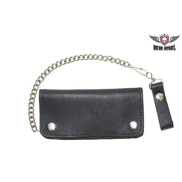 Heavy Duty Black Leather Motorcycle Chain Wallet - Club Vest Biker Motorcycle Apparel & Accessories