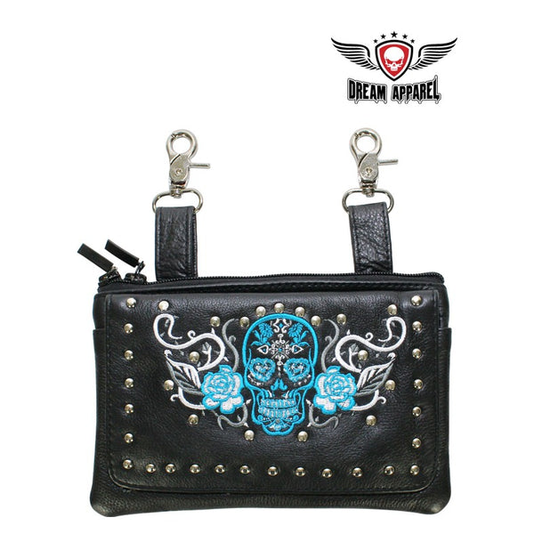 Studded Turquoise & White Sugar Skull Naked Cowhide Leather Belt Bag