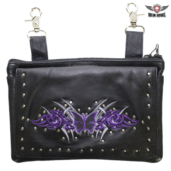 Studded Naked Cowhide Leather CCW Holster Belt Bag with Purple & Silver Butterfly