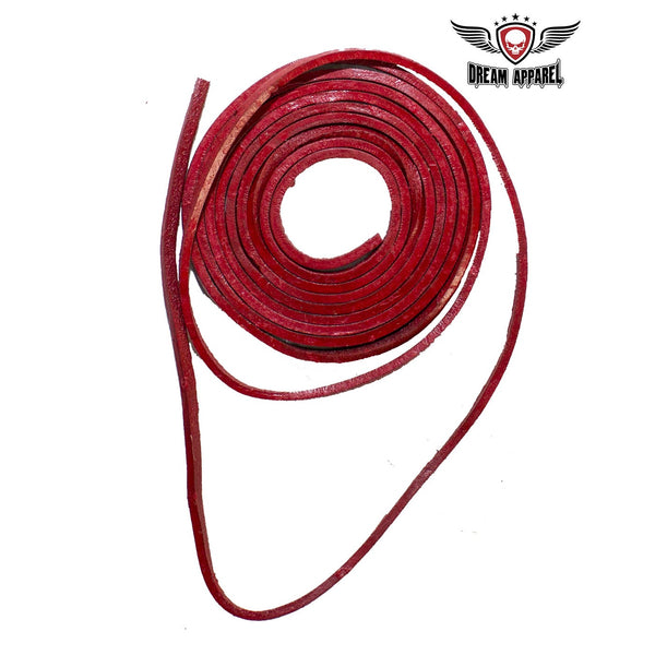 6' Feet Red Leather Laces - Club Vest Biker Motorcycle Apparel & Accessories
