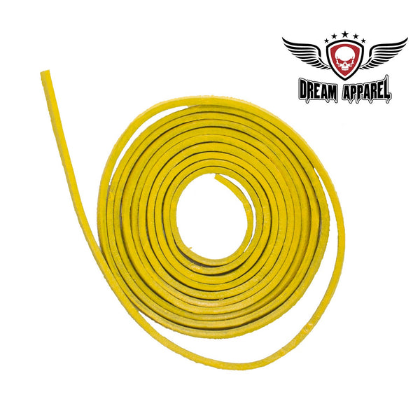 6' Feet Yellow Leather Laces - Club Vest Biker Motorcycle Apparel & Accessories
