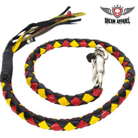 "42"" Inch Long Hand-Braided Get back Whip Black Yellow Red - Club Vest Biker Motorcycle Apparel & Accessories"