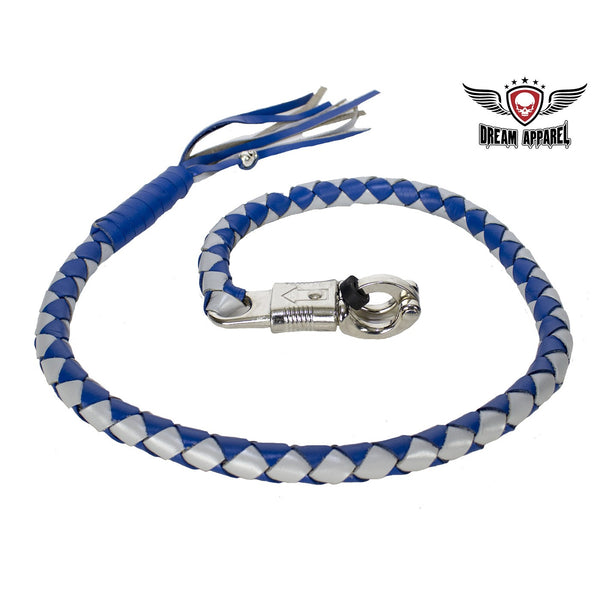 Blue and Silver Hand-Braided Leather Get Back Whip - Club Vest Biker Motorcycle Apparel & Accessories