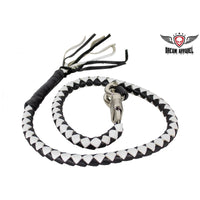 Black & White Get Back Whip For Motorcycles - Club Vest Biker Motorcycle Apparel & Accessories