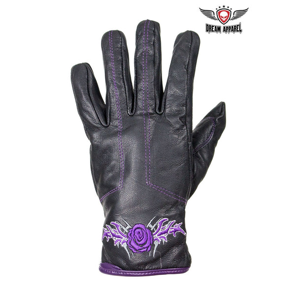 Purple Rose Graphic Leather Gloves