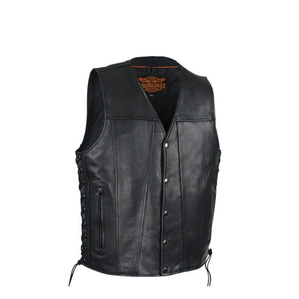 Mens Leather Vest With Dual Concealed CCW Pockets By Milwaukee Riders®