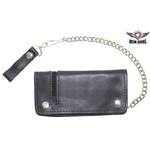 Black Leather Chain Wallet with Zippered Outside Pocket - Club Vest Biker Motorcycle Apparel & Accessories