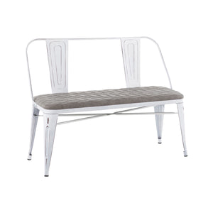 Ore Distressed White Bench with Grey Fabric Seat