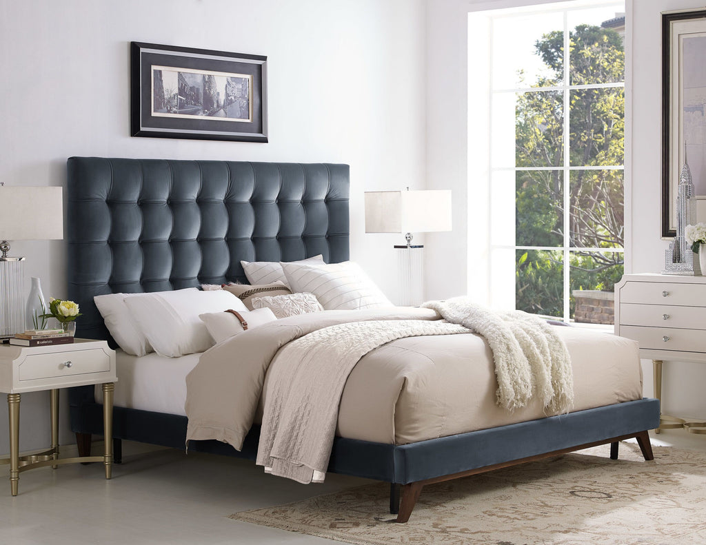 Edith Tufted Grey Platform Bed