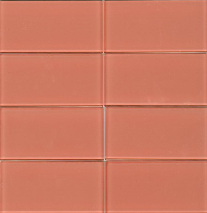 Lush Glass Subway Tile | Coral 3x6