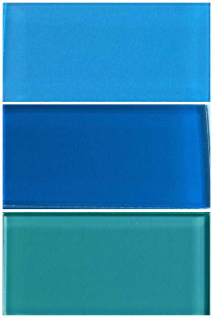 Sample Lush Glass Subway Tile | Set of Blues #2