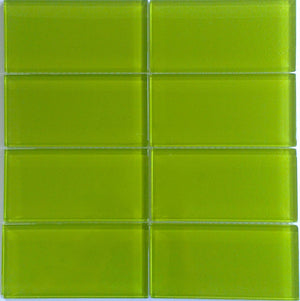 Modwalls Lush Glass Subway Tile | Lemongrass 3x6 | Modern tile for backsplashes, kitchens, bathrooms, showers