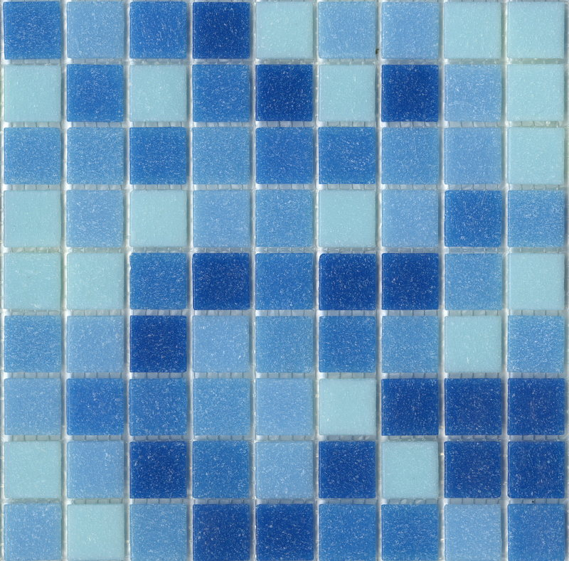 Modwalls Brio Glass Mosaic Tile | Cool Pool Blend | Modern tile for backsplashes, kitchens, bathrooms, showers, pools, outdoor and floors