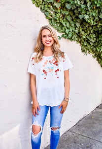 Meet Me In Paradise Embroidered Top