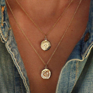 Gold Moonbeam Disc Layer Necklace