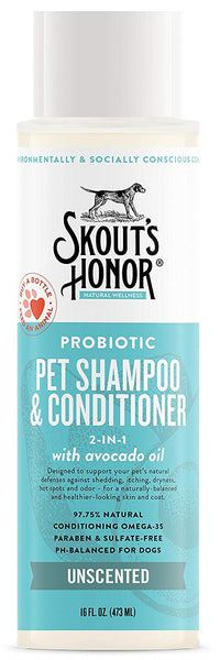 Skout's Honor Probiotic Unscented Shampoo & Conditioner (2 in 1) 16 oz