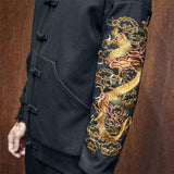 Black Jacket With Dragon Embroidery
