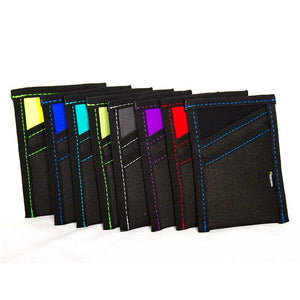 Slim Wallet made from scrap and upcycled wetsuit neoprene and recycled fabric polyester. This front pocket wallet holds 8-10 cards