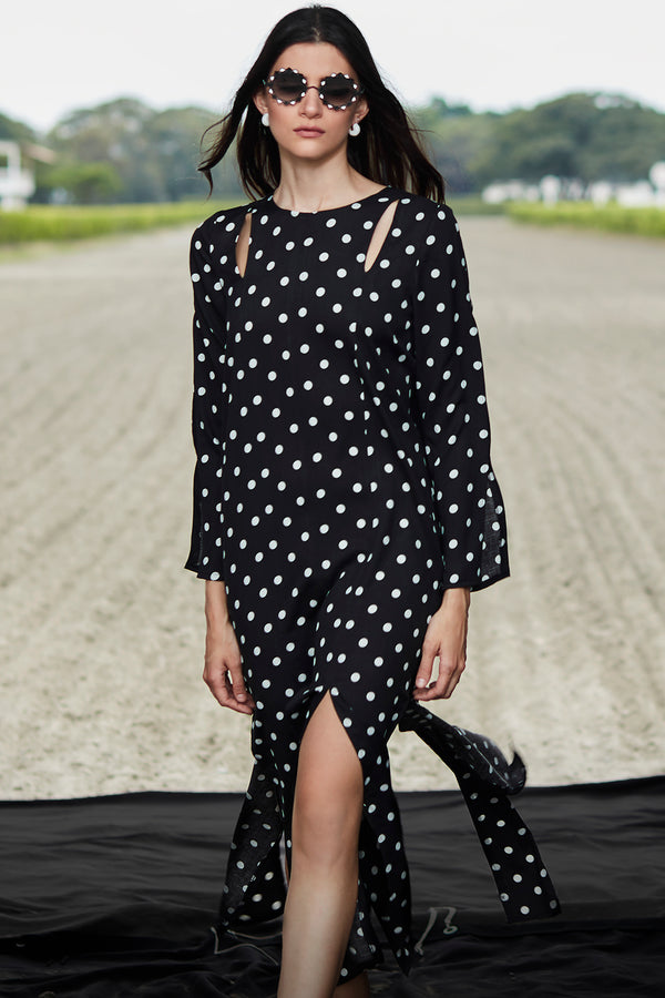 Adelia Black and White Dots Dress