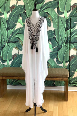 Moroccan Long Kaftan - White with Black Detail