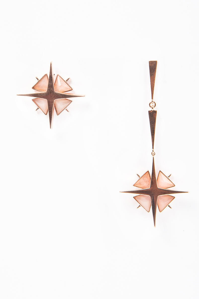 Star Asymmetrical Earrings Rose Jade