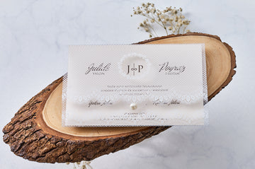 Clear Envelope with White Premium Paper Wedding Engagement and Event Invitations