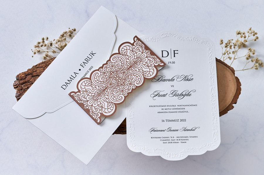 White Embossed Insert Cart with Brown Belt Wedding Bridal-Shower Engagement and Event Invitations