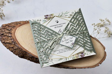 Rustic and Olive Branch Laser Cut Wedding Engagement and Event Invitations