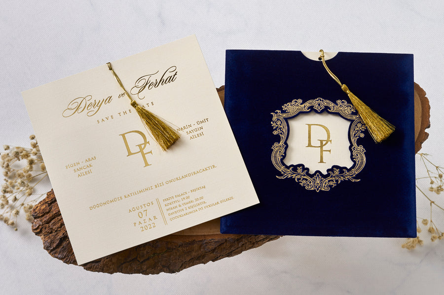 Royal Blue Velvet Gold Framed and Printed Wedding Engagement and Event Invitations with Gold Fringe