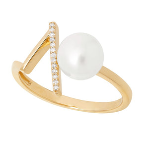 7-7.5 mm White Cultured Pearl V Ring with Diamonds