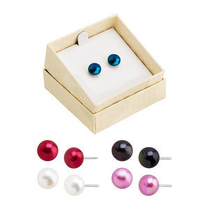 Set of Five Button Pearl Studs - Bold