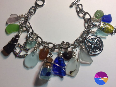 Beach Glass Charm Bracelet ***sold*** - Jewelry