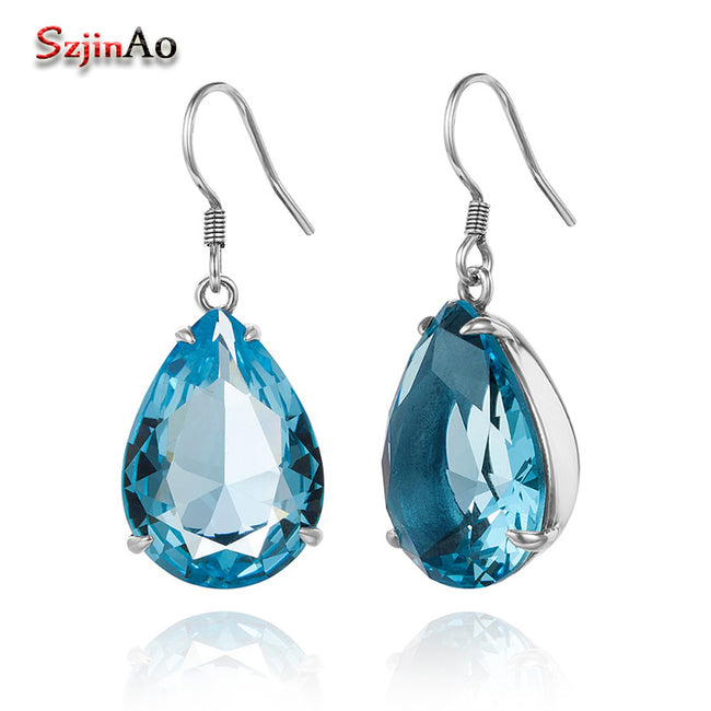 Szjinao Fashion jewelry Water Drop Blue Crystal Long 925 sterling silver Earrings for women Ethnic Dangle Wedding Wholesale gift - Ornativa.com