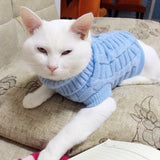 Winter Warm Cat Dog Clothes Solid Cotton Cat Sweater