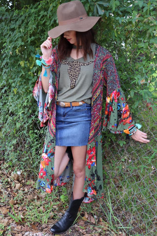 Umgee Boho Duster in Olive or Mustard