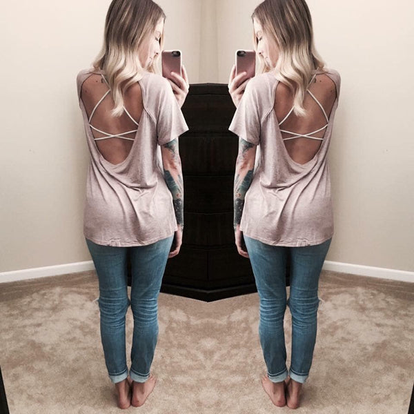 Backless Blouse in Mauve or Denim