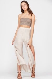 Slit Leg Polazzo Pants Champagne Color
