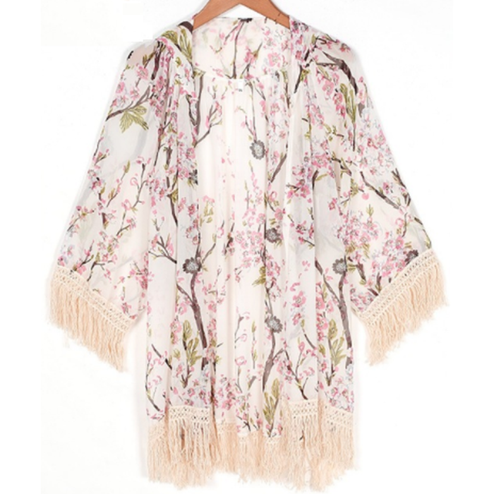 White Floral Fringed Batwing Kimono Top