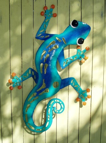 44in-Teal-And-Blue-Scuplted-Gecko-Wall-Art