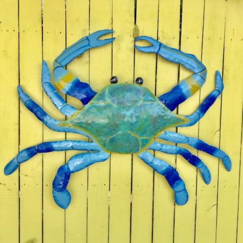 44in Metal Maryland Blue Crab Wall Art